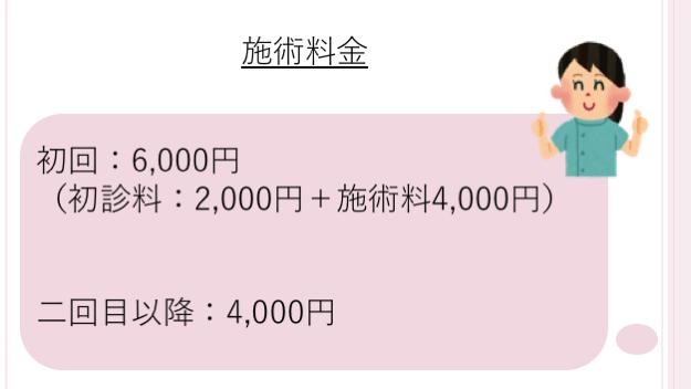 施術料金初回:6,000円 (初診料:2,000円+施術料4,000円)   二回目以降:4,000円