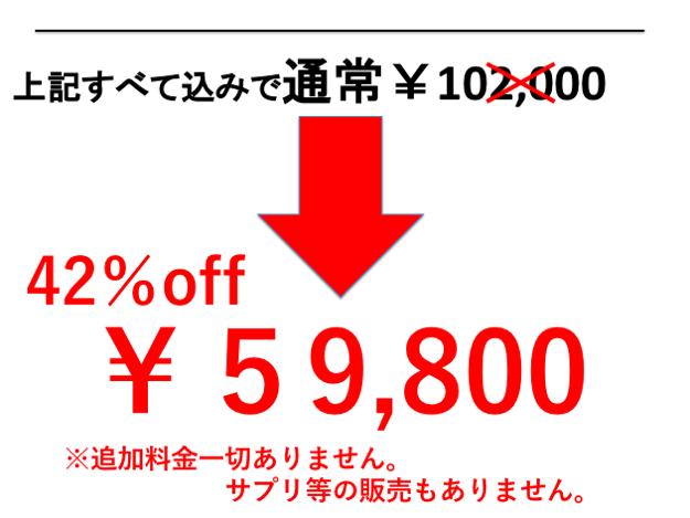 42%オフの59,800円。追加料金やサプリの販売はありません